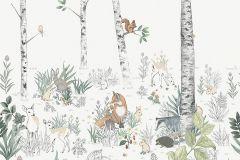 7481 cikkszámú tapéta.állatok,gyerek,rajzolt,tájkép,természeti mintás,barna,fehér,narancs-terrakotta,szürke,zöld,lemosható,vlies poszter, fotótapéta