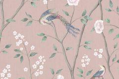 1901 cikkszámú tapéta.állatok,különleges motívumos,rajzolt,természeti mintás,virágmintás,bézs-drapp,fehér,pink-rózsaszín,zöld,lemosható,vlies tapéta