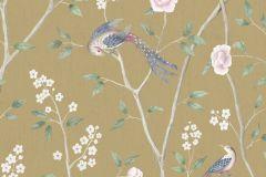1902 cikkszámú tapéta.állatok,különleges felületű,rajzolt,természeti mintás,virágmintás,bézs-drapp,kék,pink-rózsaszín,sárga,szürke,lemosható,vlies tapéta