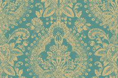 1916 cikkszámú tapéta.Barokk-klasszikus,különleges felületű,metál-fényes,arany,türkiz,lemosható,vlies tapéta