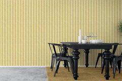 1753 cikkszámú tapéta.Retro,természeti mintás,fehér,sárga,szürke,lemosható,vlies tapéta