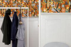 1755 cikkszámú tapéta.Absztrakt,emberek-sztárok,különleges motívumos,rajzolt,retro,barna,fehér,kék,narancs-terrakotta,sárga,szürke,zöld,lemosható,vlies tapéta