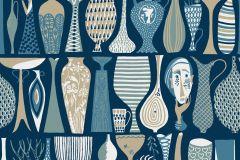 1759 cikkszámú tapéta.Különleges motívumos,retro,bézs-drapp,fehér,kék,türkiz,zöld,lemosható,vlies tapéta