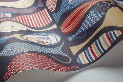 1760 cikkszámú tapéta.Különleges motívumos,retro,bézs-drapp,fehér,lila,narancs-terrakotta,piros-bordó,lemosható,vlies tapéta