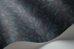 1770 cikkszámú tapéta.Rajzolt,retro,természeti mintás,fekete,türkiz,lemosható,vlies tapéta