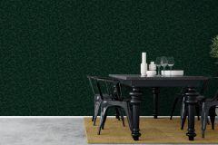 1771 cikkszámú tapéta.Rajzolt,retro,természeti mintás,fekete,zöld,lemosható,vlies tapéta