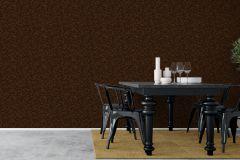 1772 cikkszámú tapéta.Rajzolt,retro,természeti mintás,fekete,narancs-terrakotta,lemosható,vlies tapéta