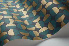 1774 cikkszámú tapéta.Absztrakt,geometriai mintás,pöttyös,retro,arany,kék,türkiz,lemosható,vlies tapéta