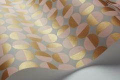 1775 cikkszámú tapéta.Absztrakt,geometriai mintás,pöttyös,retro,arany,pink-rózsaszín,szürke,lemosható,vlies tapéta