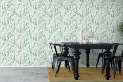 1787 cikkszámú tapéta.Rajzolt,retro,természeti mintás,fehér,sárga,zöld,lemosható,vlies tapéta