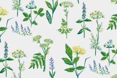 1789 cikkszámú tapéta.Rajzolt,retro,természeti mintás,fehér,kék,sárga,zöld,lemosható,vlies tapéta
