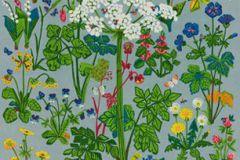1790 cikkszámú tapéta.Rajzolt,retro,természeti mintás,kék,pink-rózsaszín,sárga,szürke,zöld,vlies panel, fotótapéta