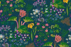 1791 cikkszámú tapéta.Rajzolt,retro,természeti mintás,kék,lila,pink-rózsaszín,piros-bordó,sárga,zöld,lemosható,vlies tapéta