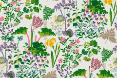 1792 cikkszámú tapéta.Rajzolt,retro,természeti mintás,fehér,lila,pink-rózsaszín,sárga,zöld,lemosható,vlies tapéta