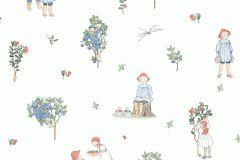 6234 cikkszámú tapéta.Emberek-sztárok,gyerek,rajzolt,virágmintás,fehér,kék,lila,piros-bordó,zöld,lemosható,vlies tapéta
