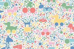 6237 cikkszámú tapéta.állatok,gyerek,különleges motívumos,rajzolt,fehér,kék,pink-rózsaszín,piros-bordó,sárga,zöld,lemosható,vlies tapéta