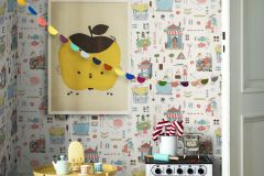 6242 cikkszámú tapéta.Emberek-sztárok,gyerek,különleges felületű,különleges motívumos,rajzolt,barna,fehér,kék,narancs-terrakotta,piros-bordó,sárga,szürke,zöld,lemosható,vlies tapéta