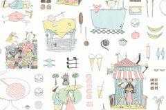 6243 cikkszámú tapéta.Emberek-sztárok,különleges felületű,különleges motívumos,rajzolt,fehér,kék,pink-rózsaszín,sárga,zöld,lemosható,vlies tapéta