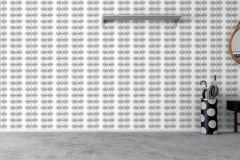 6247 cikkszámú tapéta.Csíkos,különleges felületű,különleges motívumos,rajzolt,retro,virágmintás,fehér,fekete,kék,szürke,lemosható,vlies tapéta