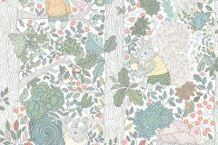 6251 cikkszámú tapéta.állatok,fa hatású-fa mintás,gyerek,különleges motívumos,rajzolt,természeti mintás,fehér,kék,narancs-terrakotta,pink-rózsaszín,piros-bordó,sárga,szürke,zöld,lemosható,vlies tapéta