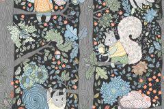 6252 cikkszámú tapéta.állatok,fa hatású-fa mintás,gyerek,különleges motívumos,rajzolt,retro,barna,fehér,fekete,kék,narancs-terrakotta,pink-rózsaszín,piros-bordó,sárga,szürke,zöld,lemosható,vlies tapéta