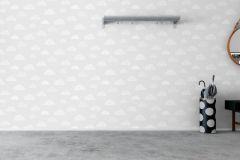 6254 cikkszámú tapéta.Csíkos,gyerek,különleges motívumos,rajzolt,természeti mintás,fehér,szürke,lemosható,vlies tapéta