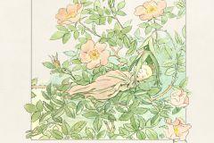 6270 cikkszámú tapéta.állatok,gyerek,rajzolt,virágmintás,bézs-drapp,fehér,kék,pink-rózsaszín,sárga,zöld,lemosható,vlies panel, fotótapéta