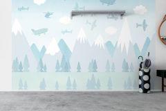 6272 cikkszámú tapéta.állatok,gyerek,különleges motívumos,rajzolt,retro,tájkép,fehér,kék,szürke,lemosható,vlies panel, fotótapéta