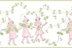 6276 cikkszámú tapéta.Gyerek,különleges motívumos,rajzolt,virágmintás,fehér,pink-rózsaszín,zöld,lemosható,vlies bordűr