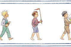 6278 cikkszámú tapéta.Emberek-sztárok,gyerek,különleges motívumos,rajzolt,barna,bézs-drapp,kék,narancs-terrakotta,piros-bordó,lemosható,vlies bordűr