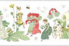 6280 cikkszámú tapéta.Gyerek,különleges motívumos,rajzolt,retro,virágmintás,piros-bordó,zöld,lemosható,vlies bordűr