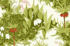 2730 cikkszámú tapéta.Virágmintás,retro,természeti mintás,gyerek,fehér,piros-bordó,pink-rózsaszín,zöld,vajszín,gyengén mosható,vlies  tapéta