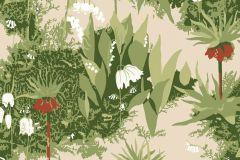 2731 cikkszámú tapéta.Virágmintás,retro,természeti mintás,gyerek,piros-bordó,bézs-drapp,zöld,gyengén mosható,vlies  tapéta