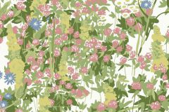 2733 cikkszámú tapéta.Virágmintás,retro,természeti mintás,gyerek,fehér,kék,lila,pink-rózsaszín,zöld,gyengén mosható,vlies  tapéta