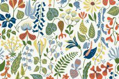 2743 cikkszámú tapéta.Virágmintás,retro,természeti mintás,gyerek,absztrakt,fehér,kék,narancs-terrakotta,sárga,zöld,gyengén mosható,vlies  tapéta