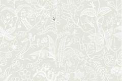 2745 cikkszámú tapéta.Virágmintás,retro,természeti mintás,absztrakt,fehér,szürke,gyengén mosható,vlies  tapéta