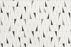 2754 cikkszámú tapéta.Retro,geometriai mintás,fehér,szürke,fekete,gyengén mosható,vlies  tapéta