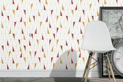 2755 cikkszámú tapéta.Retro,geometriai mintás,fehér,szürke,piros-bordó,narancs-terrakotta,sárga,gyengén mosható,vlies  tapéta