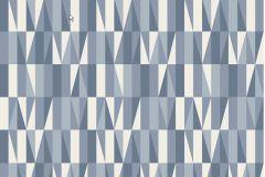 2761 cikkszámú tapéta.Retro,geometriai mintás,fehér,szürke,kék,lila,vajszín,gyengén mosható,vlies  tapéta