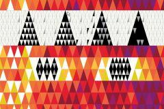 2763 cikkszámú tapéta.Kockás,retro,geometriai mintás,fehér,fekete,lila,piros-bordó,narancs-terrakotta,sárga,gyengén mosható,vlies panel, fotótapéta