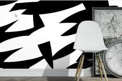 2764 cikkszámú tapéta.Retro,absztrakt,fehér,fekete,gyengén mosható,vlies panel, fotótapéta