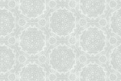 6325 cikkszámú tapéta.Barokk-klasszikus,különleges felületű,rajzolt,retro,virágmintás,ezüst,szürke,zöld,lemosható,vlies tapéta