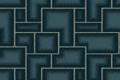 3089 cikkszámú tapéta.Geometriai mintás,kockás,retro,kék,lemosható,vlies tapéta