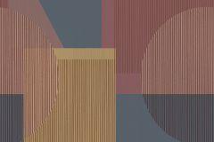 3091 cikkszámú tapéta.Geometriai mintás,retro,bézs-drapp,fekete,narancs-terrakotta,piros-bordó,szürke,lemosható,vlies poszter, fotótapéta