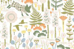 1450 cikkszámú tapéta.állatok,gyerek,rajzolt,természeti mintás,virágmintás,bézs-drapp,fehér,kék,zöld,lemosható,vlies tapéta