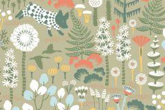 1451 cikkszámú tapéta.állatok,gyerek,rajzolt,természeti mintás,virágmintás,barna,bézs-drapp,fehér,kék,narancs-terrakotta,sárga,zöld,lemosható,vlies tapéta
