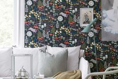 1452 cikkszámú tapéta.Absztrakt,állatok,gyerek,rajzolt,természeti mintás,virágmintás,fehér,fekete,lila,narancs-terrakotta,sárga,zöld,lemosható,vlies tapéta