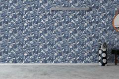 1453 cikkszámú tapéta.állatok,gyerek,rajzolt,természeti mintás,virágmintás,fehér,kék,lemosható,vlies tapéta