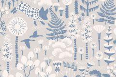 1454 cikkszámú tapéta.állatok,gyerek,rajzolt,természeti mintás,virágmintás,bézs-drapp,fehér,kék,szürke,lemosható,vlies tapéta