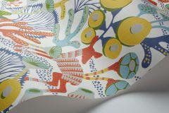 1462 cikkszámú tapéta.Absztrakt,állatok,gyerek,rajzolt,természeti mintás,fehér,kék,narancs-terrakotta,sárga,szürke,zöld,lemosható,vlies tapéta